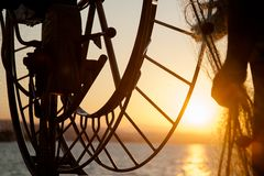 Sunset on fishing on boat in sea Stock Photos