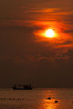 Sunset on fishing boats Stock Photography