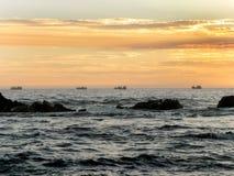 Sunset fishing boats Royalty Free Stock Photo