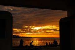 Sunset fishing Stock Photos