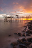 Sunset Fishing Platform Stock Image