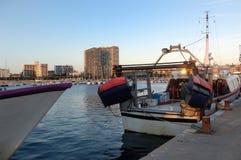 Sunset at the fishing port of Palamos, Girona, Royalty Free Stock Images