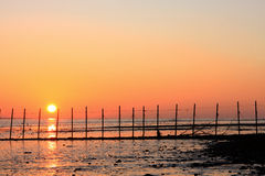 Sunset and Fishing Stakes. The sun sets in a vivid display of oranges and reds behind stake pole supports for fishing nets at the edge of the sea royalty free stock photo