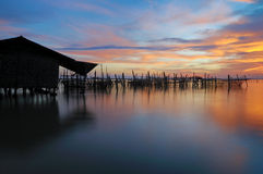Sunset-fishing Village Royalty Free Stock Photos