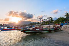 Sunset in the fishing village Stock Image