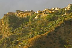 Sunset on fiumefreddo. The old town of fiumefreddo del bruzio in south italy royalty free stock image