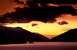 Sunset on fjord. Amazing sunset on fjord. Norway Stock Photography