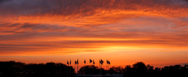 Sunset on Flag Plaza, Liberty State Park, New Jersey. Panoramic. Royalty Free Stock Photos