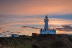 Sunset at Flamborough Head Lighthouse Royalty Free Stock Images