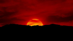 Sunset in flames. A fiery orange red  sunset Stock Image