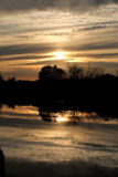 Sunset at Fleet Dyke Norfolk Broads Royalty Free Stock Photos