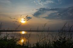 Sunset and flock of birds at Long Lake National Wildlife Refuge, Moffit, ND Stock Photo