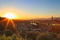 Sunset in Florence, Italy stock image