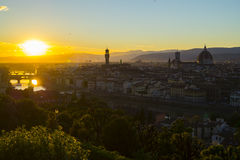 Sunset in Florence. From piazza Michelangelo Royalty Free Stock Photo