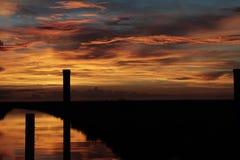 Sunset at the florida Everglades. A beautiful sunset at the Florida Everglades at dusk, with sky and clouds stock image
