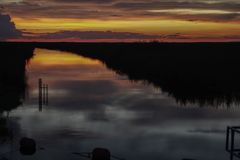 Sunset at the Florida Everglades. With sky and clouds stock image