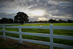 Sunset in Florida with Picket Fence Royalty Free Stock Images