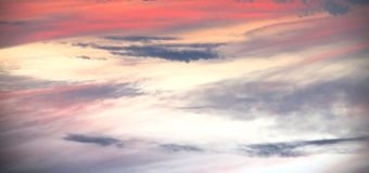 Sunset in Florida from Plane View Stock Photo