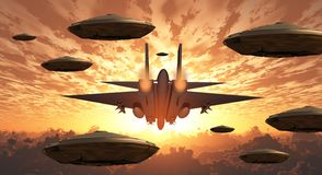 Aircrafts. Flying saucers and military jet plane. Sunset. Flying saucers and jet plane together stock illustration