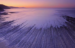 Sunset and Flysch in Zumaia Stock Image