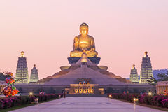 Sunset at Fo Guang Shan, the biggest buddist temple of Kaohsiung in Taiwan. Kaohsiung, Taiwan - December 15, 2014: Sunset at Fo Guang Shan, the biggest buddist Stock Photo