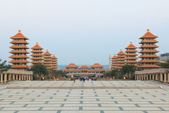 Sunset at Fo Guang Shan buddist temple of Kaohsiung, Taiwan Stock Image