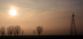 Sunset fog. A electric pylon in the fog Royalty Free Stock Photo