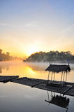 Sunset and fog in the morning. With  floating house foreground ,Kwae Noi river  ,Kanchanaburi,Thailand Stock Photo