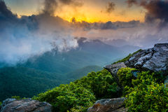 Sunset through fog, seen from Craggy Pinnacle, near the Blue Rid. Ge Parkway, North Carolina royalty free stock photos