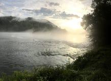 Hiwassee River sunset fly fishing stock image