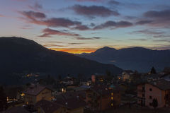 Sunset in Folgaria, Trentino. A fiery sunset on the mountains around Folgaria, Trentino, Italy royalty free stock image