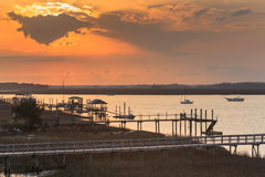 Sunset Folly River Marina South Carolina SC Royalty Free Stock Image