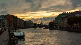 Sunset Fontanka river St. Petersburg Russia dramatic sky. Sunset fontanka river st petersburg russia dramatic sky stock photo
