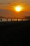 Sunset football on the beach Royalty Free Stock Photos