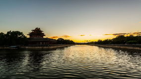 The sunset is in the Forbidden City. Of Beijing,China stock footage
