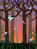 Sunset in the forest. A butterflies fly in the evening forest Royalty Free Stock Photography