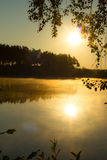 Sunset. On the forest lake Royalty Free Stock Image