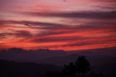 Sunset forest view in Ooty. Stunning sunset in ooty with sky pattern Royalty Free Stock Images
