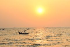 Background. Sunset at bangsean beach royalty free stock photo