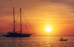 Sunset in Formentera. Balearic Islands. Spain Royalty Free Stock Photos