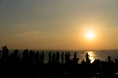 Sunset in Formentera. The people's silhouette during a sunset in Formentera, Spain Stock Image