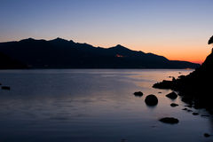 Sunset at Forno,  Biodola Bay, Elba island. Stock Photos
