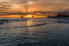 Sunset on Fort Myers Beach Royalty Free Stock Images