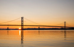 Sunset at the Forth Road Bridge Royalty Free Stock Images