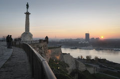 Sunset from the Fortress. Sunset view from fortress  Kalemegdan on river Sava and New Belgrade city in Southeast of Europe Serbia. Park and fortress Kalemegdan Royalty Free Stock Photo