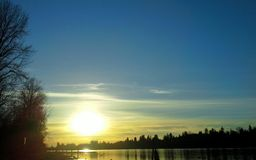 Sunset on the Fraser River Royalty Free Stock Photos