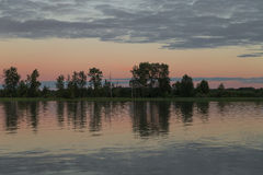 Sunset On The Fraser River. Richmond And Steveston, Canada On The Fraser River stock photo