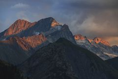 Sunset in french alps stock image