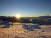 Sunset in the french alps Stock Photography