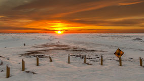 Sunset in the fridged prairies Royalty Free Stock Photography